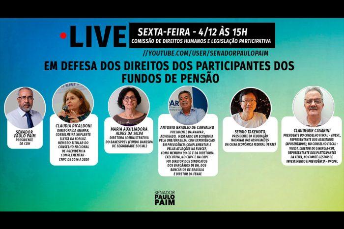 Maria Auxiliadora participa de live da CDH do Senado sobre fundos de pensão